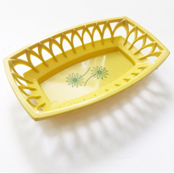 Vintage Basket Mod Retro Daisy yellow Plastic Bowl